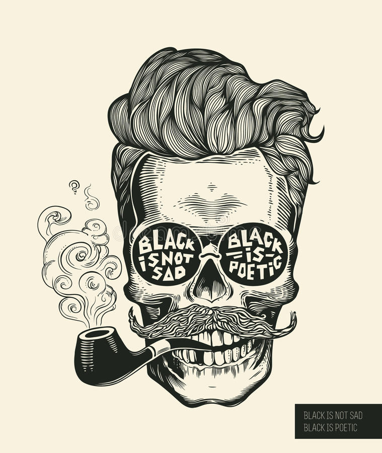 Hipster skull silhouette with mustache, beard, tobacco pipes and glasses. Lettering Black is not sad, black is poetic Vector. royalty free illustration