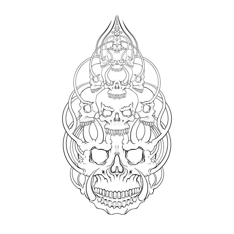 Skull horn face illustration vector, mysticism, tattoo. Handmade royalty free stock photos