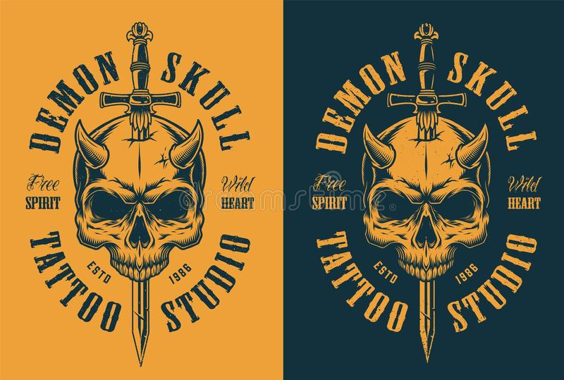 Skull with horn and sword royalty free illustration
