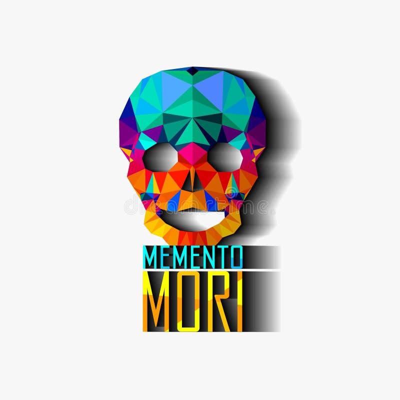 skull Ilustração poligonal do vetor Inscrição no latim: (Recorde sobre a morte) memento mori ilustração royalty free