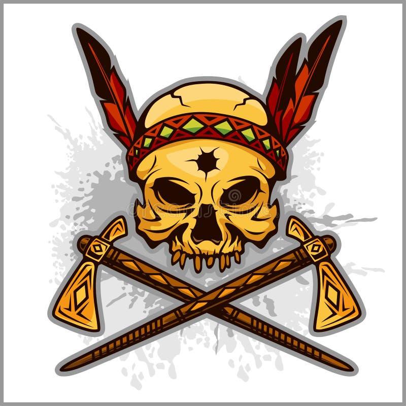 Skull Of An Indian Warrior Vector Illustration Stock Vector