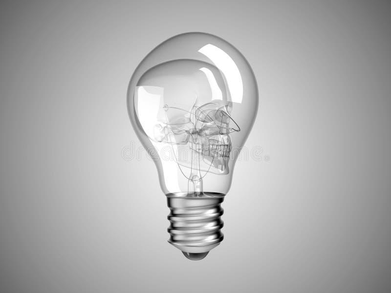 Skull Inside Lightbulb - Health Or Death Stock Image