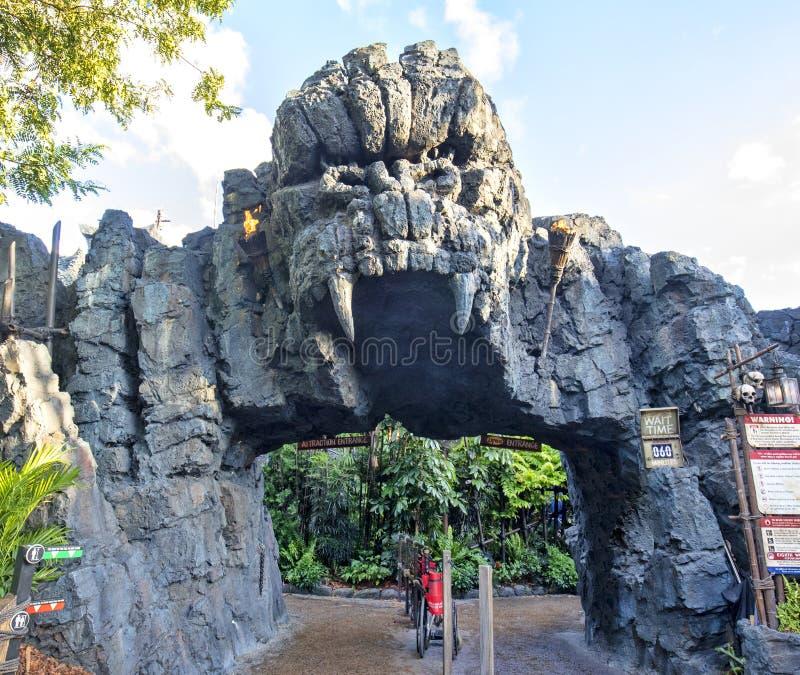 Skull Island, règne du Roi Attraction Entrance, îles d'aventure images libres de droits