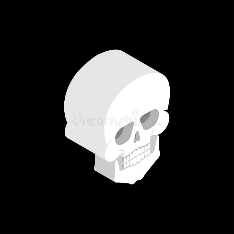 Skull isometric isolated. 3D Bones anatomy. Human bone system stock illustration
