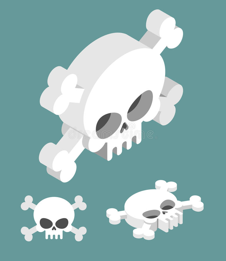 Skull isometric set. Head of skeleton and crossbones royalty free illustration
