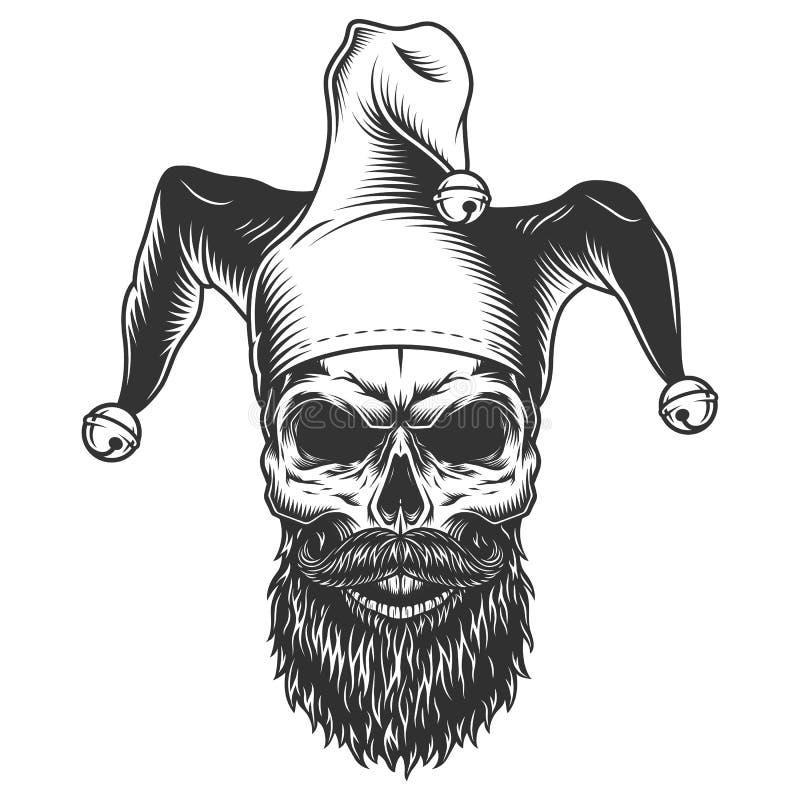 Skull in the jester hat vector illustration