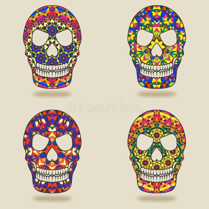 Skull with kaleidoscope pattern stock illustration