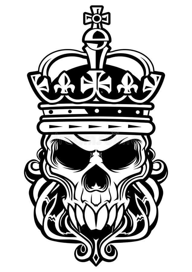 Skull of king vector illustration