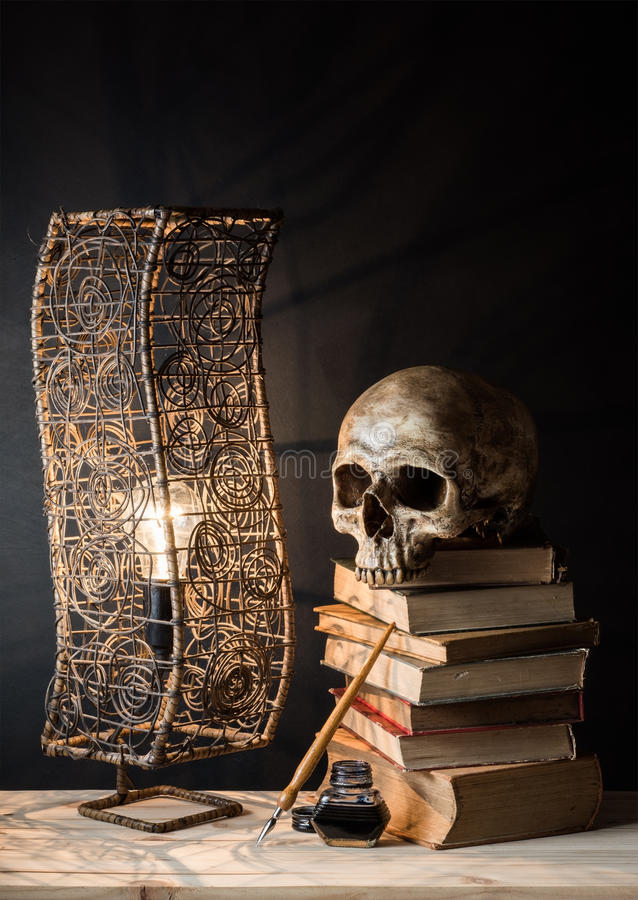 Download Skull With Lamp Stock Photo. Image Of Aged, Scary, Lamp   53613362