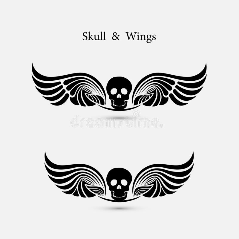 Skull logo with devil wings logo design template.The Ghost symbol.Halloween background.Tattoo sign.Happy Halloween emblem isolate vector illustration