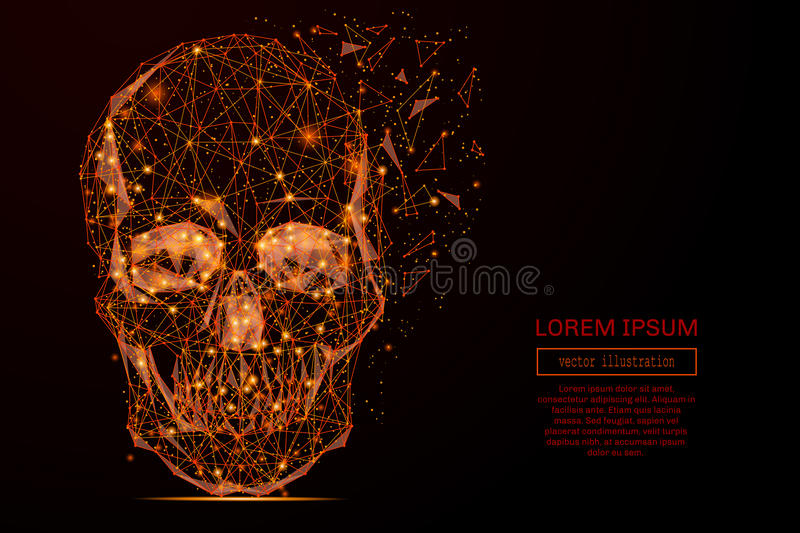 Skull low poly flame stock illustration