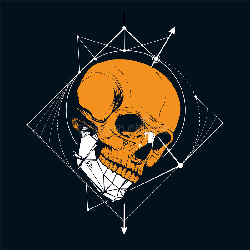 Skull. With low poly jaw stock illustration