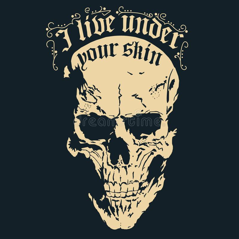 Skull with a lower jaw print, Hand drawn Detailed sketchy t-shirt design. Vector royalty free illustration