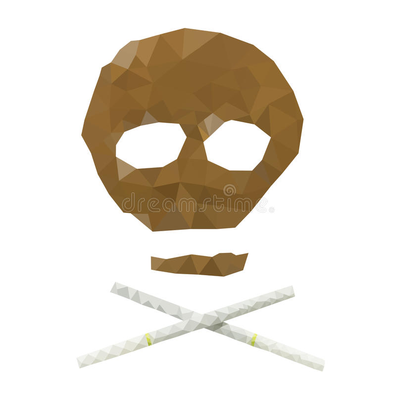 Skull made by cigarette and tobacco. Low poly skull made by cigarette and tobacco isolated on white background royalty free illustration