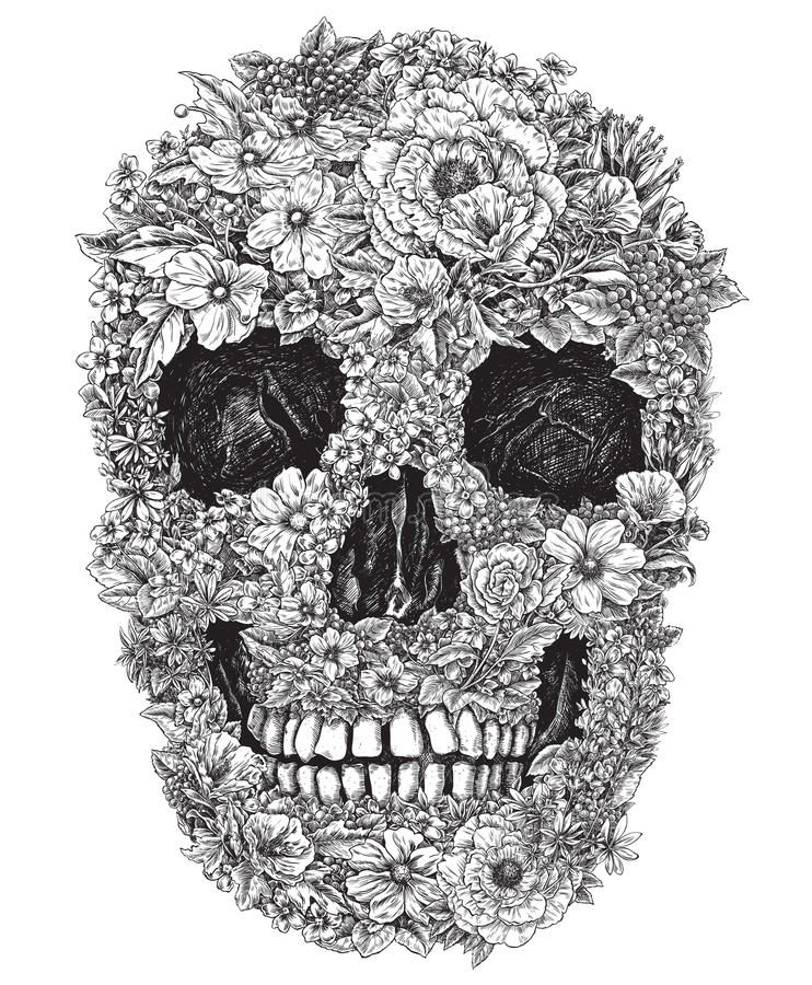 Skull Made Out of Flowers Vector Illustration. Vector illustration of a skull made of flowers