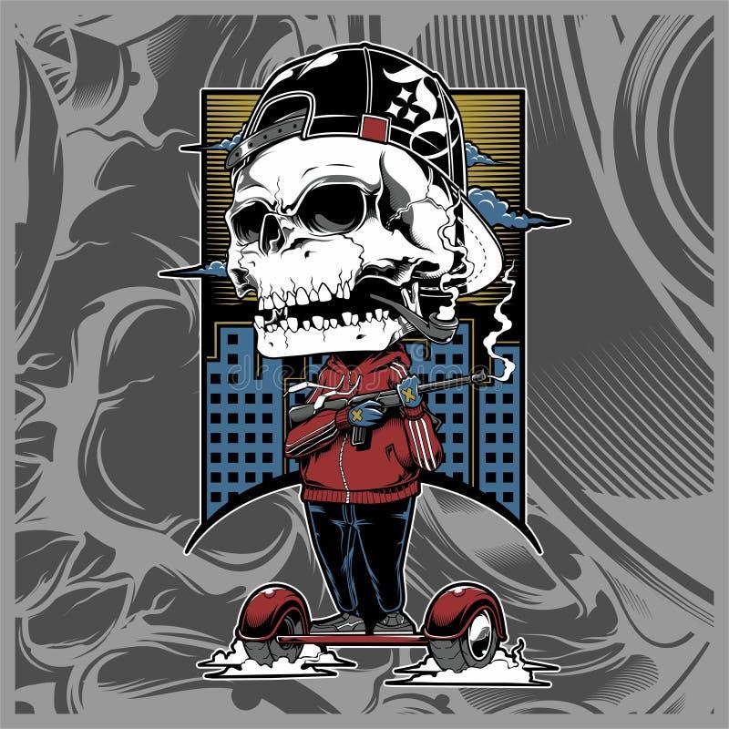 Skull mafia holding gun hand drawing vector vector illustration