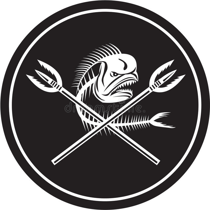 Skull Mahi Mahi Dolphin Fish Crossed Spears Circle Retro. Illustration of a skull of dorado dolphin fish, mahi mahi or mahi-mahi with crossed primitive royalty free illustration