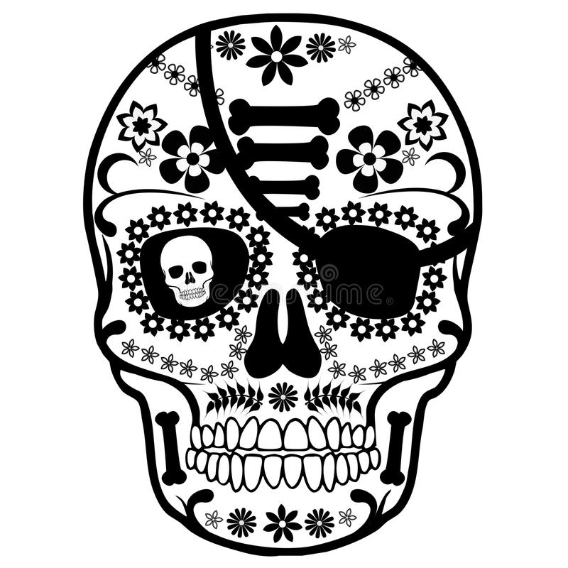 Skull Mexican pirate stock illustration