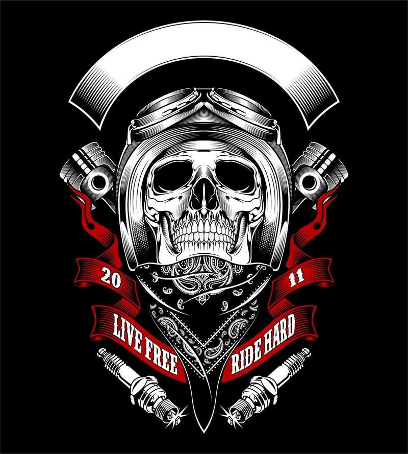 Skull with motorcycle helmet and bandana - Vector vector illustration