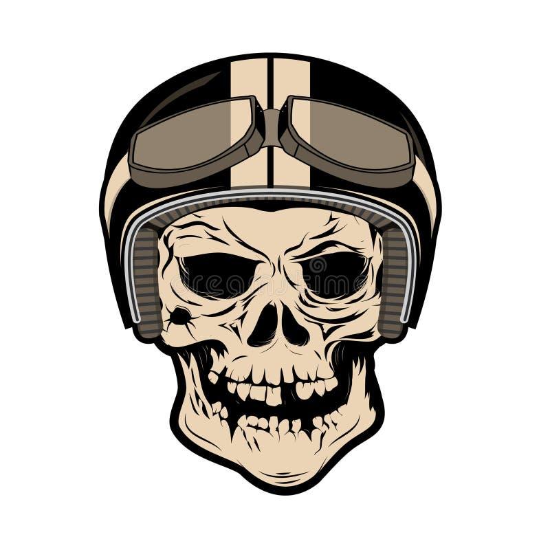 Skull in motorcycle helmet. Design element for logo, label, badge, t-shirt print template. Design element in vector. royalty free illustration