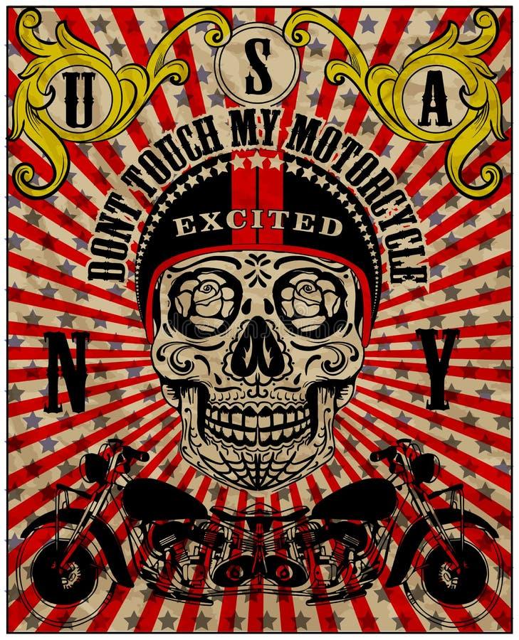 Skull Motorcycle Poster Vintage Man T shirt vector illustration