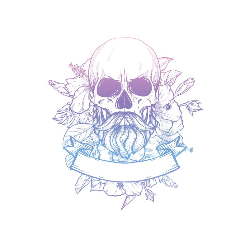 Skull with moustaches and beard royalty free stock photo