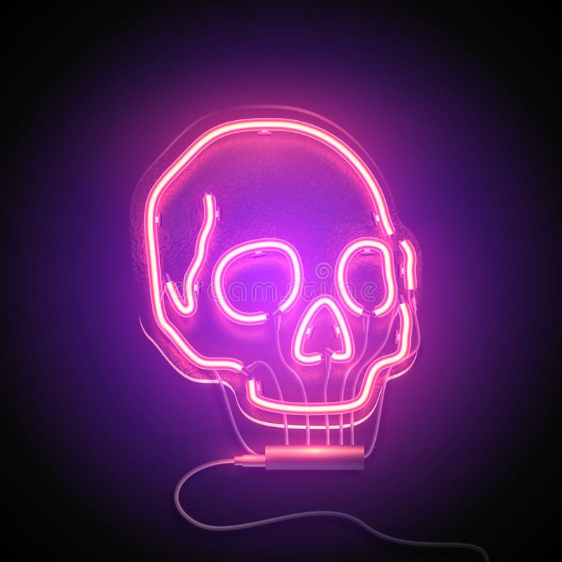 Skull neon signboard. Neon sign. Retro neon Skull signboard on purple background. Design element. Ready for your design. Vector illustration vector illustration