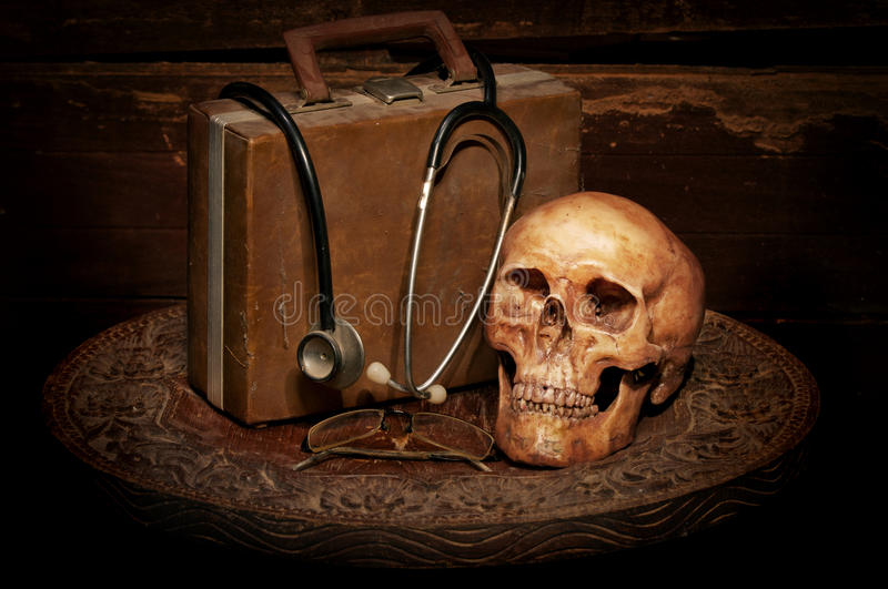 Skull on old wood royalty free stock photo