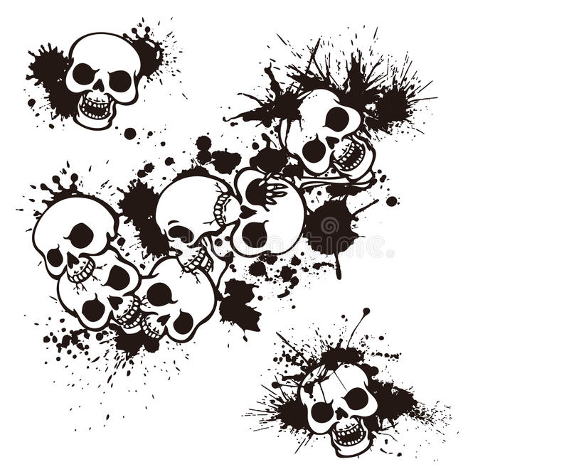 Skull and paint,. I designed the skull and scattered paint It is a vector work royalty free illustration