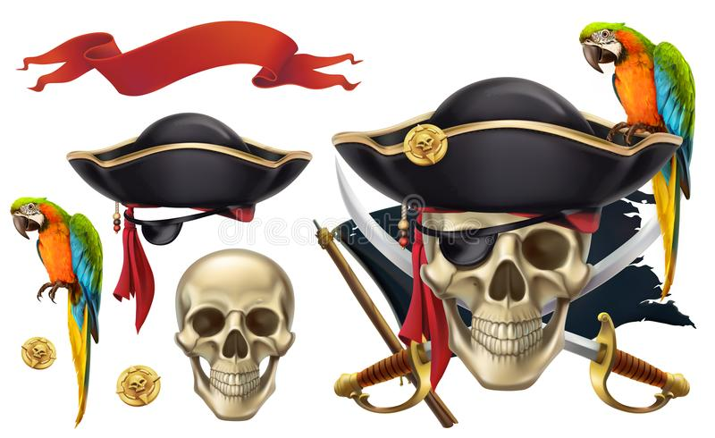 Skull and parrot. Pirate emblem. vector icon set. Skull and parrot. Pirate emblem. 3d vector icon set stock illustration