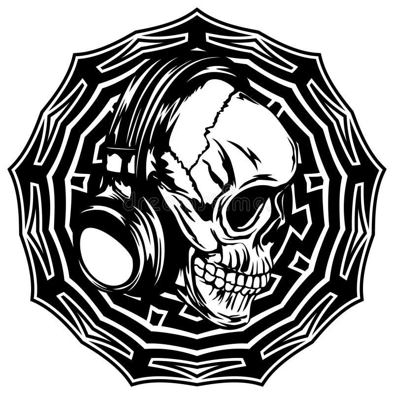 Skull_on_pattern ilustração stock
