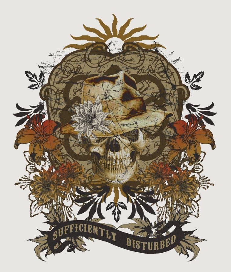 Skull pattern in ethnic style, tee shirt graphic vector illustration