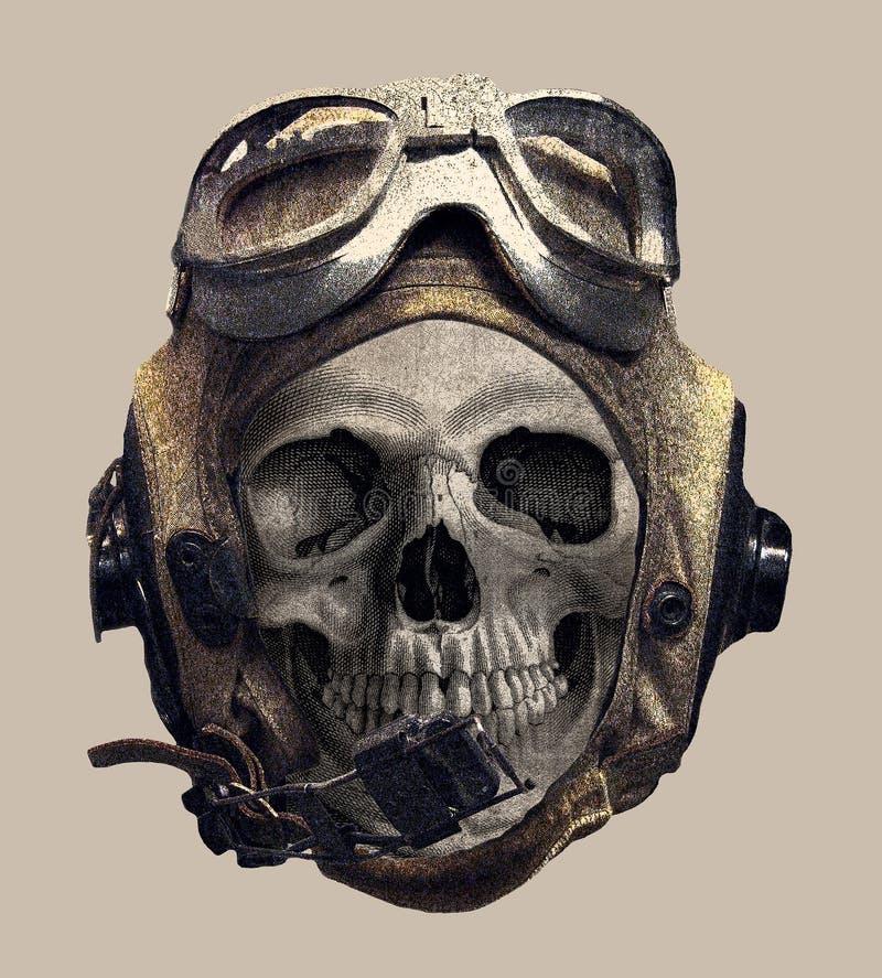 Skull in the pilot helmet. tee shirt print royalty free illustration
