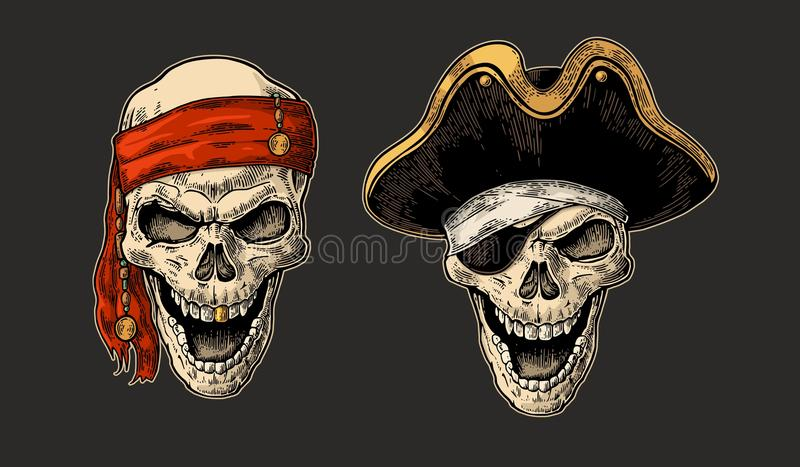 Skull in pirate with clothes eye patch, captain hat, bandana. Vintage engraving vector illustration