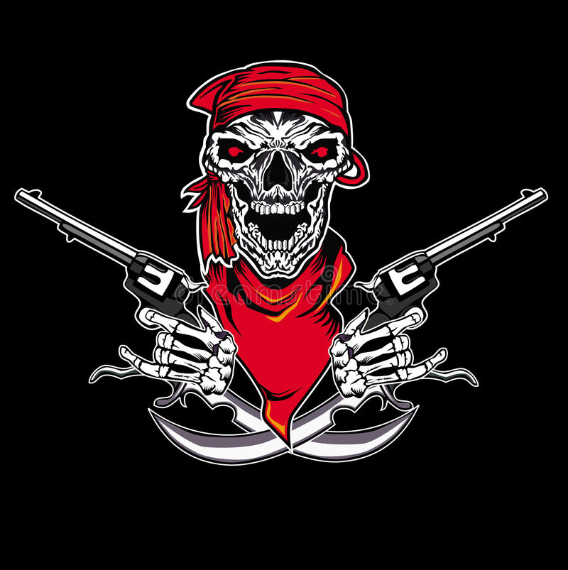 Skull pistol vector illustration