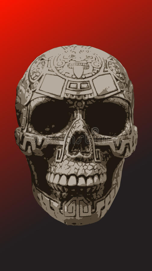 Skull with prehispanic details over it vector image stock photos