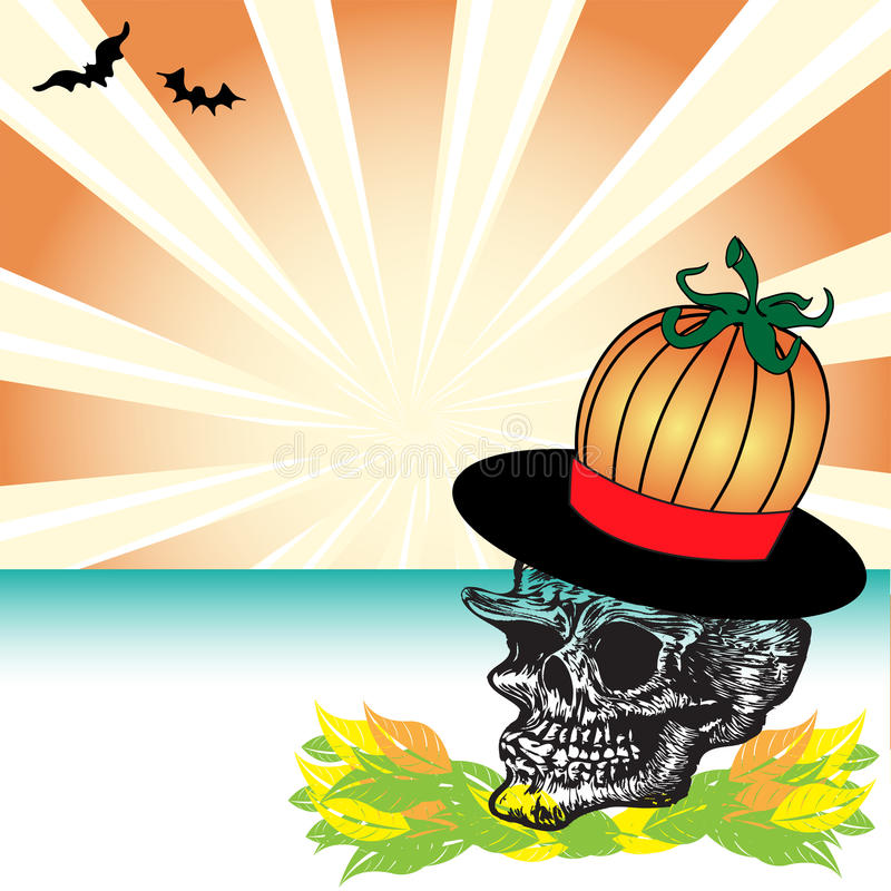 Download Skull with pumpkin hat stock vector. Illustration of abstract - 10465134