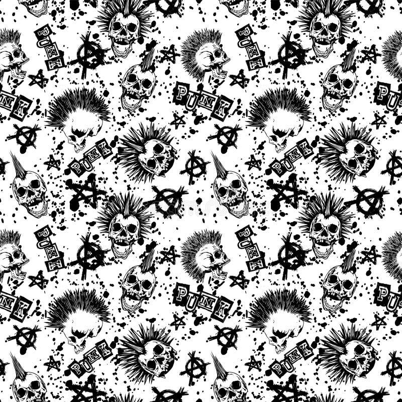Skull_punk_background 向量例证
