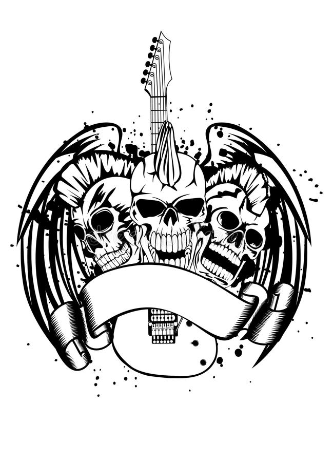 Download Skull punk with guitar stock vector. Image of artistic - 26551674