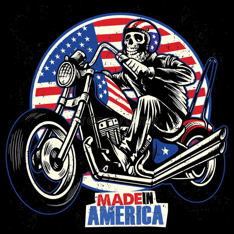 Skull ride an american flag painted motorcycle. Vector of skull ride an american flag painted motorcycle stock illustration