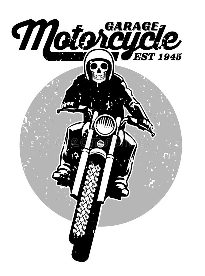 Skull riding a motorcycle vector illustration