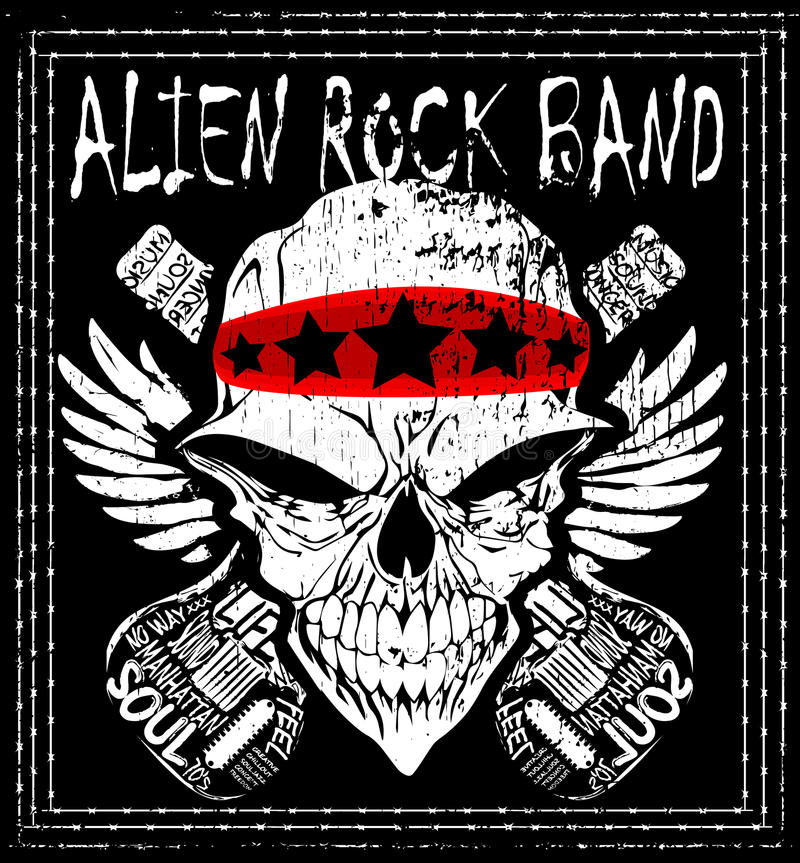 Skull Rock N Roll Band Music Vector Man T Shirt Design Stock ...