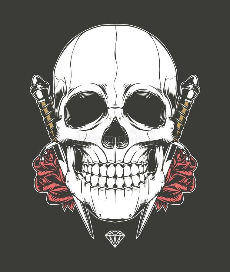Skull Rose and Dagger vector illustration
