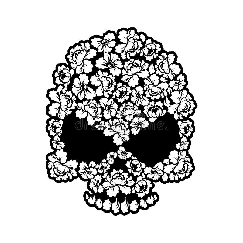 Skull rose tattoo. Flower head skeleton. Beautiful floral bone stock illustration