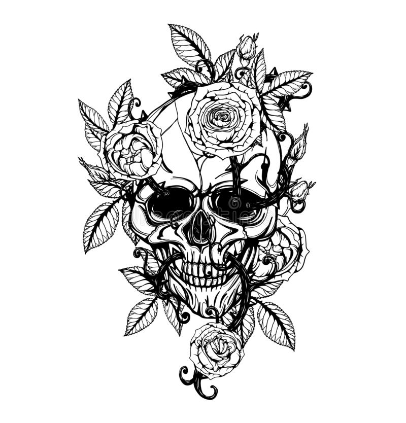 Skull with rose tattoo by hand drawing. Tattoo art highly detailed in japanese line art style.Black and white line art pattern for paint royalty free illustration