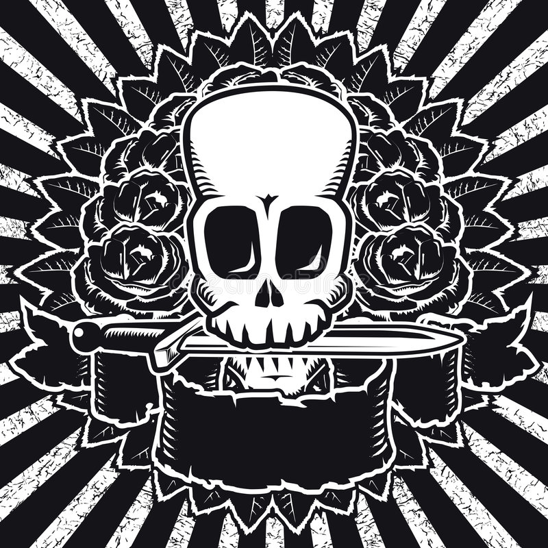 Download Skull Roses BW Stock Image - Image: 2465321