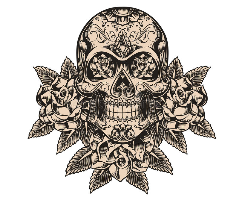 Download Skull And Roses Illustration Stock Photography - Image: 33176562