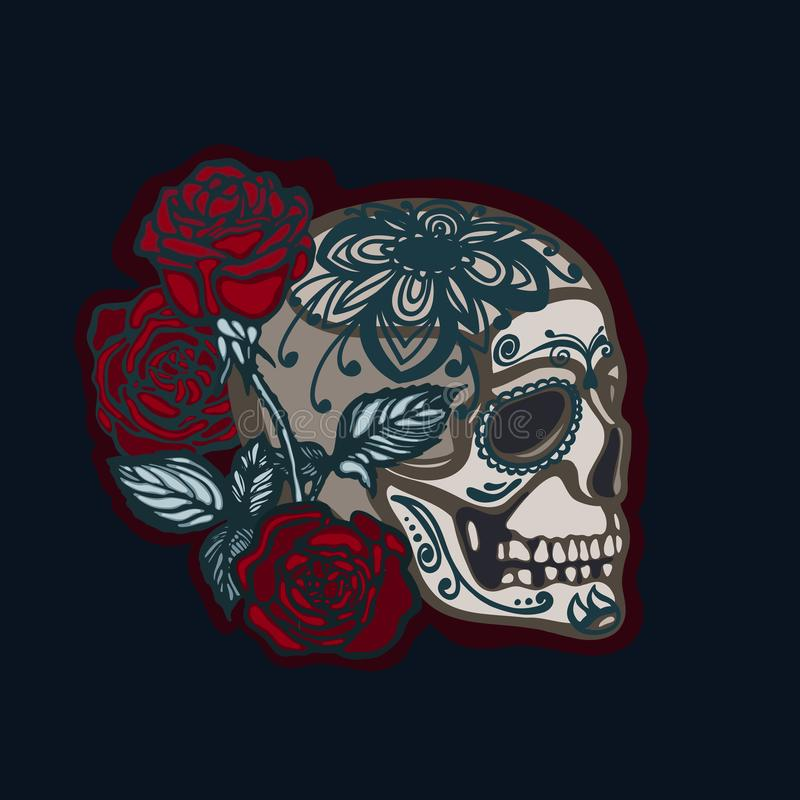 Skull with roses. The symbol of the Mexican holiday Day of the Dead. Halloween. Dia De Los Muertos. Hand drawn. royalty free illustration