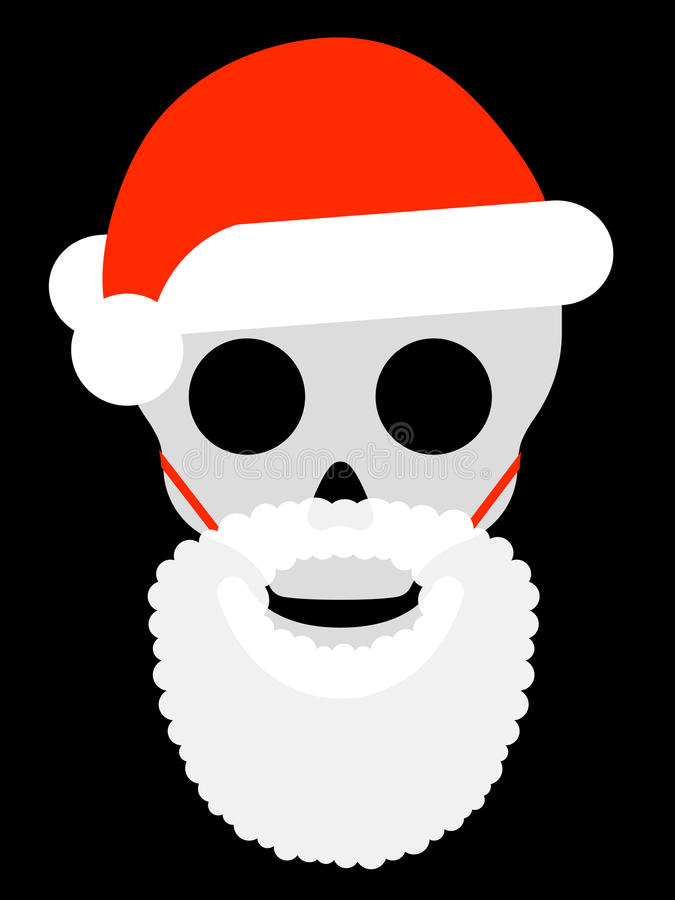 Skull with santa hat and attached beard