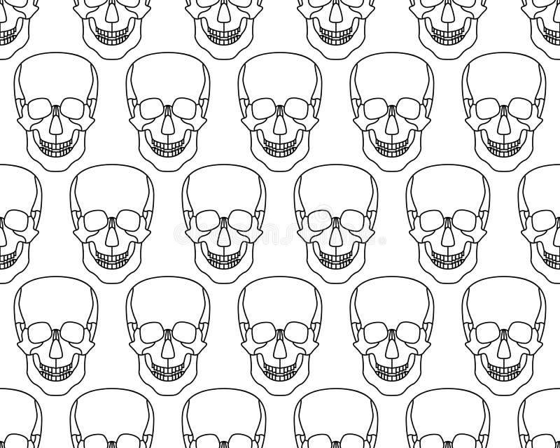 Skull seamless pattern. Seamless pattern of the cartoon skulls stock illustration
